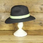 Topshop 0302 - Dark Grey 100% Wool Floppy Fedora with mint trim.