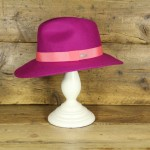 Topshop 0303 - Fuchsia 100% Wool Floppy Fedora with peach trim.