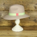 Topshop 0304 - Alabaster 100% Wool Floppy Fedora with mint and peach trim.
