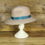 Topshop 0308 - Alabaster 100% Floppy Fedora with teal trim.