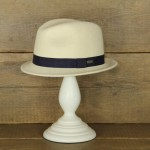 Topshop 0356 - Ecru 100% Wool Stingy Brim with navy trim.