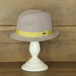 Topshop 0358 - Grey 100% Wool Stingy Brim with yellow trim.